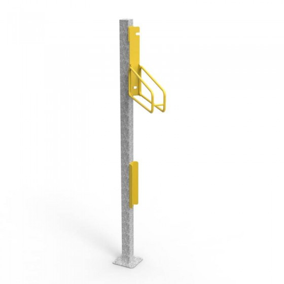 e3vr 45l angled vertical bike rack with e3vr p post perspective