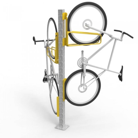 e3vr 45r and l angled vertical bike racks with double side e3vr p post perspective
