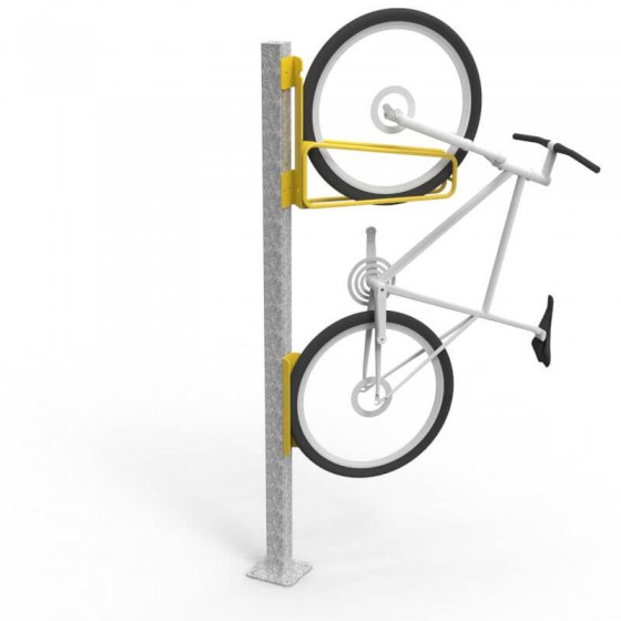 e3vr 45r angled vertical bike rack with bike and e3vr p post perspective