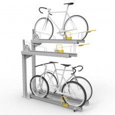 e3dt gp two tier dynamic bike racks with bikes perspective