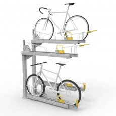 e3dt gt two tier dynamic bike racks with bikes perspective