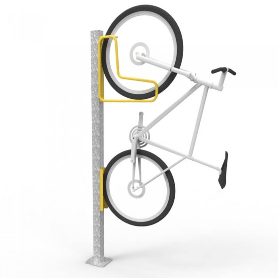 e3vr f vertical bike rack with e3vr p mounting post bike perspective